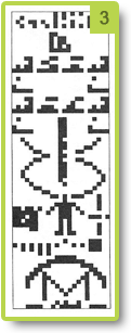 Visual representation of the message sent by man from Arecibo (1974)